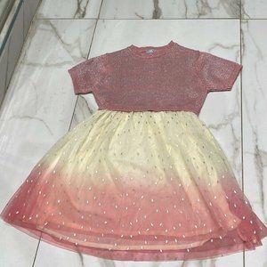 Juste Cle Little Girls Pink Knit Top Beige Dress 5
